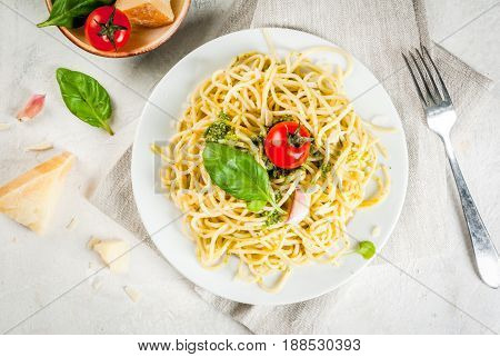 Italian Cuisine, Lunch Or Dinner For One. Pesto Pasta. Spaghetti With Pesto, Basil Leaves, Garlic, P