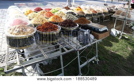 Stall With A Lot Of Dried Fruit For Sale On The Road