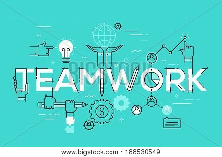 Modern vector illustration concept of word teamwork. Thin line flat design banner for website and mobile application, easy to use and highly customizable.