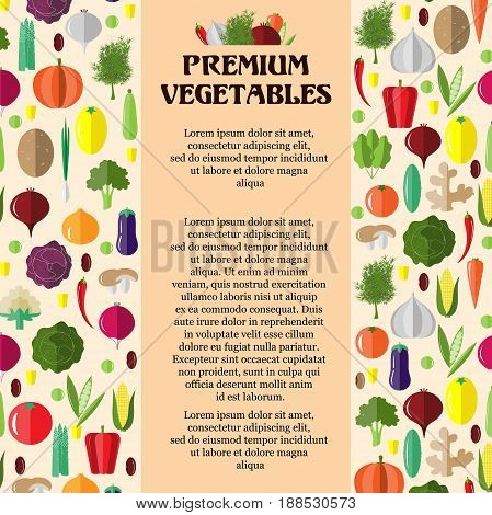 Poster with colorful vegetables. Template for packaging, cards, posters, and menu. Flat vector illustration