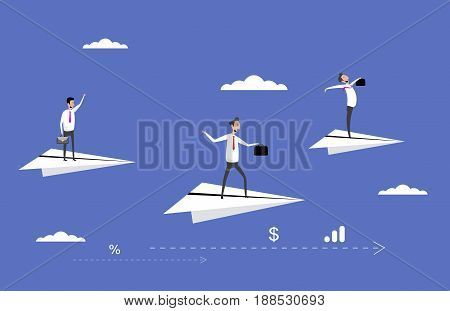Businessmen flying on paper planes. Concept business illustration in flat style. Vector