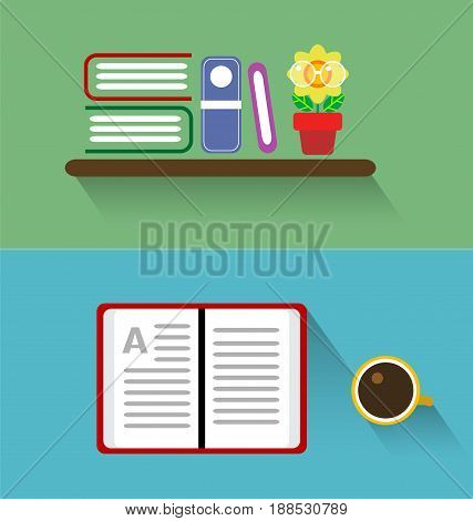 Books on the shelves and open book with cup of tea or coffee. Vector