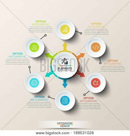 Modern infographic design template - round diagram with central circle and arrows pointed at 6 circular elements. Six steps of software product creation. Vector illustration for website, presentation.