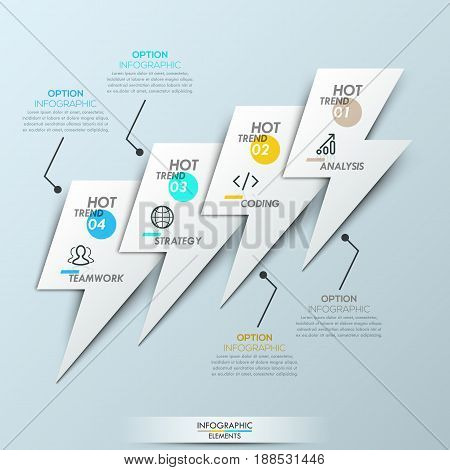 Modern infographic design template - 4 overlapping elements in shape of lightnings connected with text boxes. Four hot trends in software development. Vector illustration for banner, website, report.