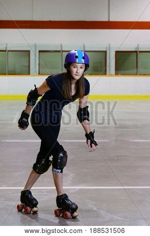 teen girl doing crossover with motion blur
