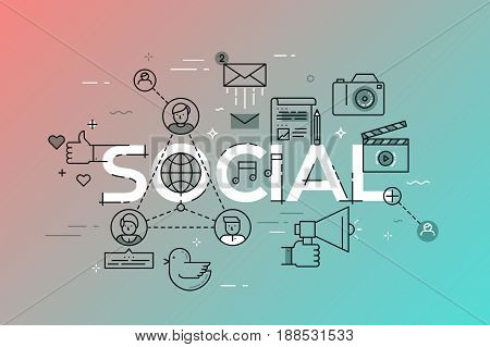 Modern vector illustration concept of word social. Thin line flat design banner for website and mobile application, social network template, easy to use and highly customizable.