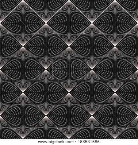 Vector seamless pattern, subtle background with lines halftone squares optical illusion. Monochrome geometric seamless texture. Black white collection vector background. Abstract design element for prints, decor, textile, web.