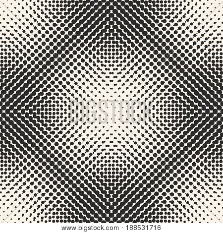 Vector monochrome halftone, seamless pattern gradually transition circles texture, different sized dots in square form abstract background. Black & white texture. Design for prints, cover, banner, web.