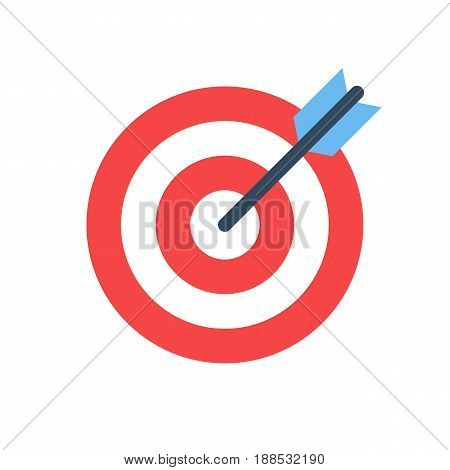 target icon. business objective concept. successful shot in the bullseye. dartboard with arrow. isolated on white background. vector illustration