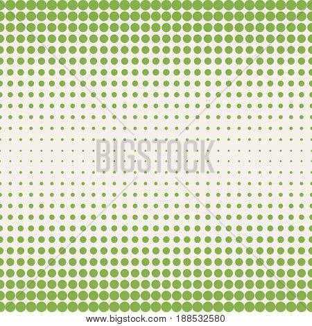Vector halftone pattern in trendy colors greenery and beige. Seamless background texture, halftone dots pattern with different circles. Dots gradually transition vector. Design for prints, covers, decor, textile, digital, web.