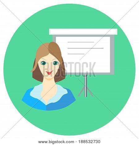 Icon girl businesswoman near the board in a flat style. Vector image on a round colored background. Element of design, interface. Image in the cartoon style.