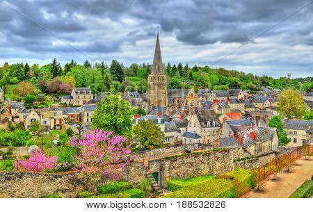 View of Langeais town with St. Jean Baptiste Church - France, the Loire Valley