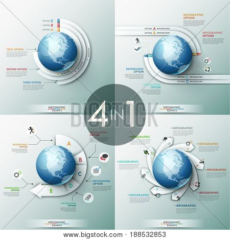 Collection of 4 infographic design templates with paper lettered elements placed around globe, text boxes and pictograms. Global communication and world cooperation concept. Vector illustration.