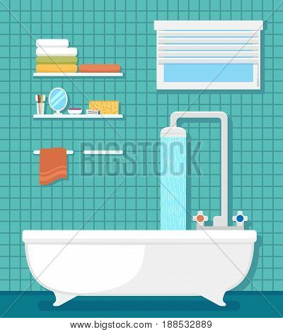 bathroom interior with furnishing - bath and shower. room interior with window, shelf, bath and shower on blue tiles for bathroom