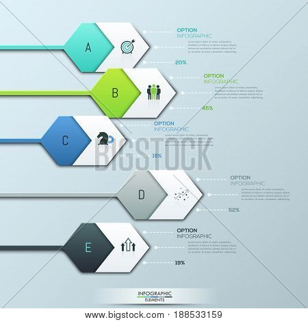 Creative infographic design layout. 5 hexagonal lettered elements and pictograms connected with text boxes by dotted lines. Percentage of company business processes. Vector illustration for report.