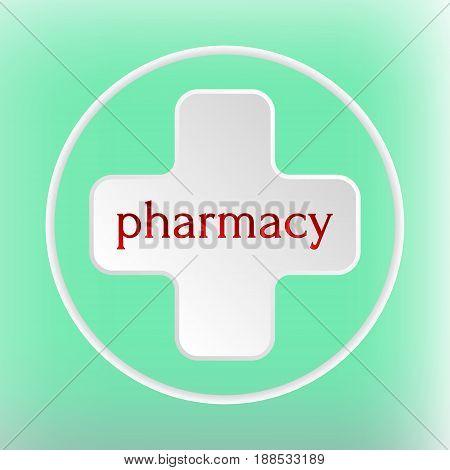 Pharmacy Logo Medicine white plus abstract design vector template. Circle.