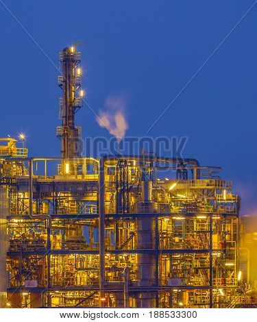 Detail Of Chemical Plant In Twilight