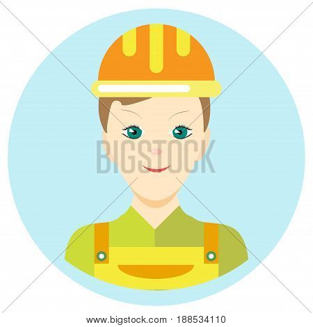 Icon man builder in a flat style. Vector image on a round colored background. Element of design, interface. Image in the cartoon style.