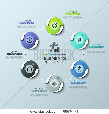 Creative infographic design layout, round diagram with 6 circular elements connected by chain, pictograms and text boxes. Features of work cycle activities. Vector illustration for report, website.