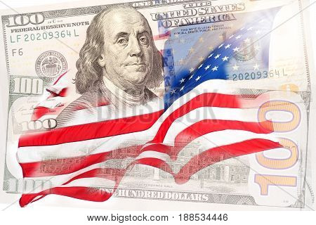 American flag and US banknotes with America presidents. For Memorial Day or 4th of July.