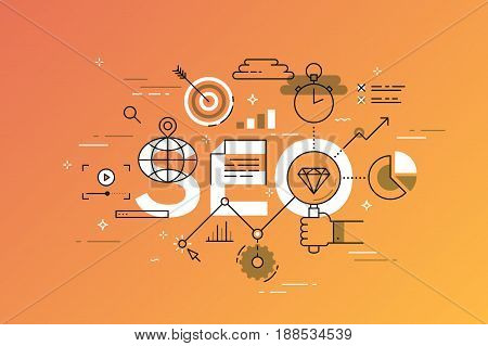 Thin line flat design banner of search engine optimization. Modern vector illustration concept of word SEO for website and mobile website banners, easy to edit, customize and resize.