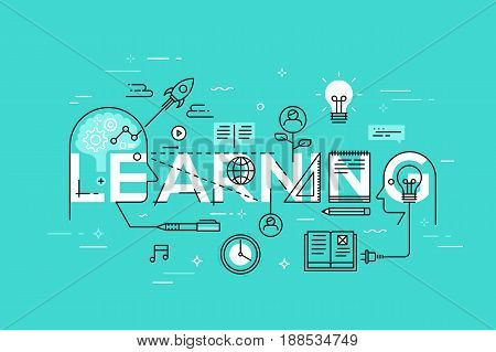 Thin line flat template for learning web page, exchange and development of ideas and knowledge. Modern vector illustration word concept for website and mobile applications banners.