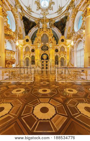 SAINT PETERSBURG RUSSIA - DECEMBER 07 2016: Interior of Grand Church of Winter Palace (State Hermitage). Hermitage is one of the largest and oldest museums of art and culture in the world