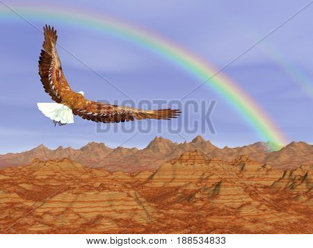 Bald eagle flying upon rocky mountains to the rainbow in blue sky - 3D render