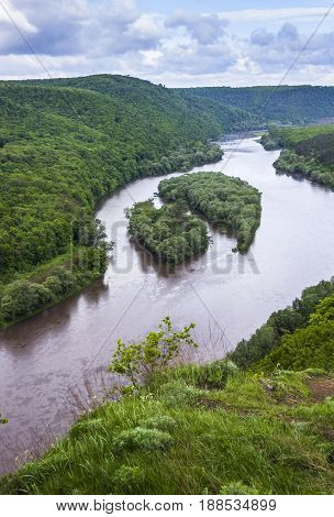 aerial view of islands Yin and Yang in Dnister river Ternopil region of western Ukraine