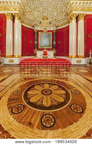 ST. PETERSBURG RUSSIA - DECEMBER 07 2016: Interior of the State Hermitage (Winter Palace) Small Throne Hall. Hermitage is one of the largest and oldest museums of art and culture in the world