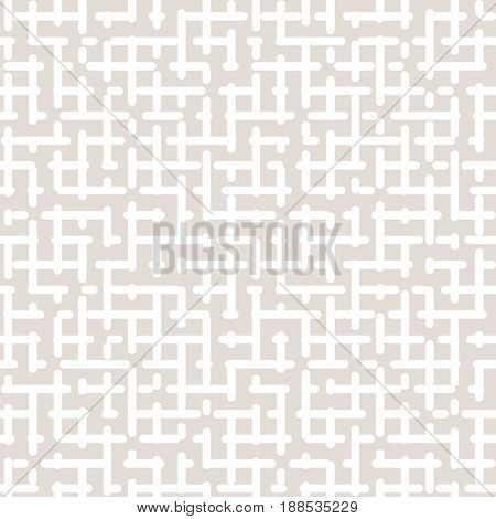 Vector seamless pattern of maze geometric texture in pastel colors beige & white. Simple abstract background, repeat seamless texture. Monochrome pattern with light design for prints, fabric, textile, cloth, covers, invitations.