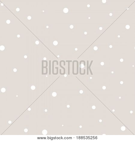 Vector polka dot seamless pattern, pastel colors white beige background. Monochrome dotted seamless texture. Abstract subtle pattern with randomly scattered different circles. Design for decor, textile, cover, web.