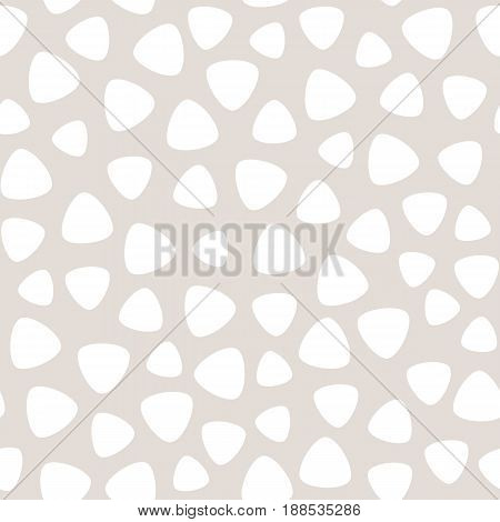 Vector monochrome seamless pattern, pale pastel colors seamless pattern, white geometric spots seamless pattern, beige background seamless pattern, round triangles seamless pattern. Abstract texture seamless pattern, fabric print seamless pattern, card se