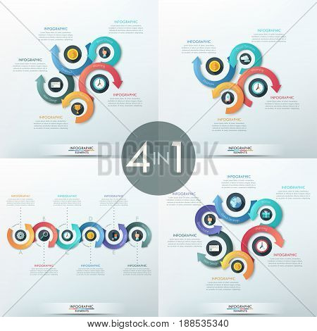 Collection of infographic design templates, 4, 5 and 6 elements with pictograms and arrows placed around them. Visualization of timing and processing. Vector illustration for presentation, brochure.