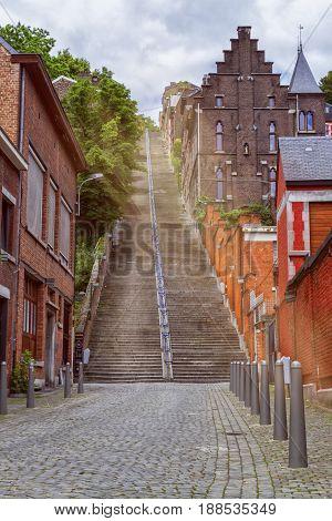 Montagne de Bueren, 374-step staircase in Liege, Belgium