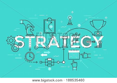 Thin line flat design banner of business and marketing strategy. Modern vector illustration word concept for website and mobile applications, easy to edit, customize and resize.