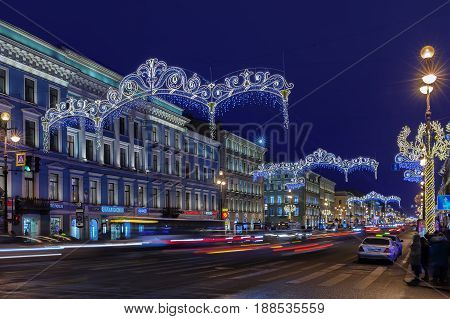 ST. PETERSBURG RUSSIA - DECEMBER 21 2016: Nevsky Prospect at night Christmas illumination. It is the main street in Saint Petersburg
