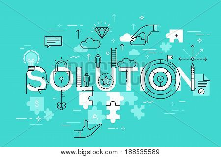 Thin line flat design template of business solutions. Modern vector illustration word concept for website and mobile application banners, easy to edit, customize and resize.