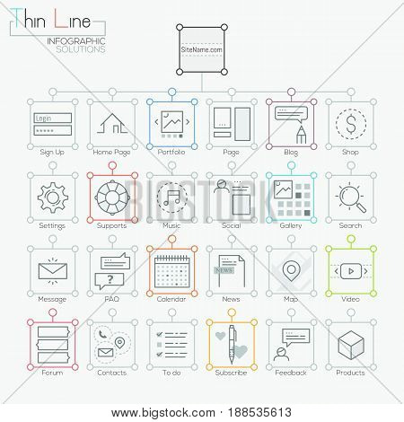 Set of modern icons in thin line style. Website map visualization for users, site organization, scheme and hierarchy. Vector illustration for presentation, banner, internet blog, navigation tools.