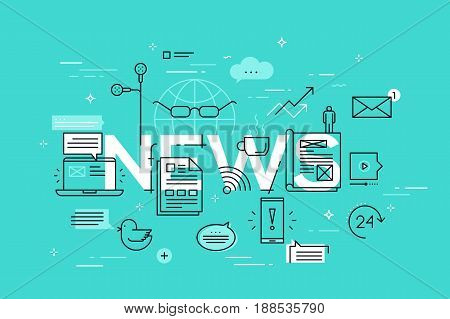 Modern thin line design concept for news website banner. Vector illustration banner for product and services information, recent events and activities information, newsletter contact form.