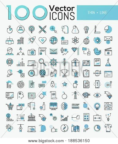 Big set of 100 modern icons in thin line style - business, finance, sports, online education, global communication, internet shopping, tourism. Vector illustration for website, mobile application.