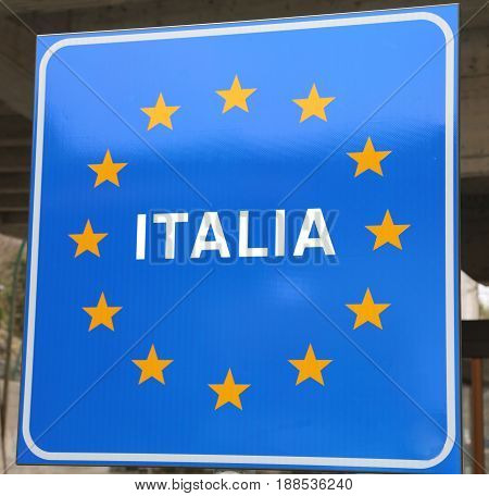 Big Road Sign With Text Italia