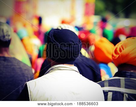 People Sikh With A Turban On His Head During The Festival