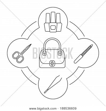 Manicure contents linear icons set. Women's handbag, nail file and polish bottles, manicure tweezers and scissors. Isolated vector illustrations