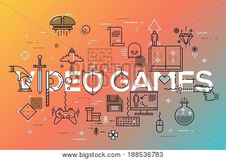 Modern thin line banner of classic game objects, mobile gaming elements. Vector illustration concept of word video games for website and mobile website banners, easy to edit, customize and resize.