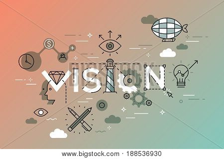 Modern vector illustration concept of word vision. Thin line flat design banner for website and mobile application, easy to use and highly customizable.