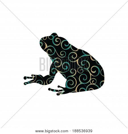 Frog amphibian color silhouette animal. Vector Illustrator.