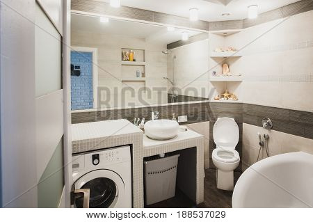 Bathroom with lavatory pan, hygienic shower, modern style sink and laundry washer. Scandinavian interior design of water closet. Horizontal.