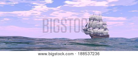Old merchant ship on the ocean by day - 3D render