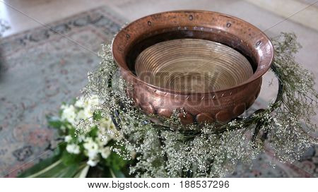 Ancient Small Baptismal Font In Copper Decorated With Flowers Du